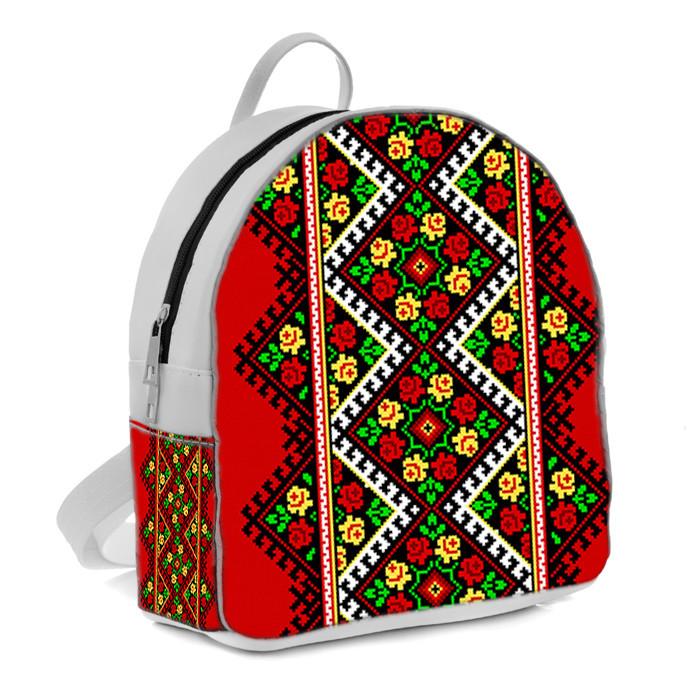 Рюкзак Moderika Arco белый с рисунком Незабудка красная (77975)