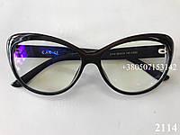 Компьютерные очки с защитными линзами, бабочки ЕАЕ 2114 черные с бордовой вставкой, фото 1