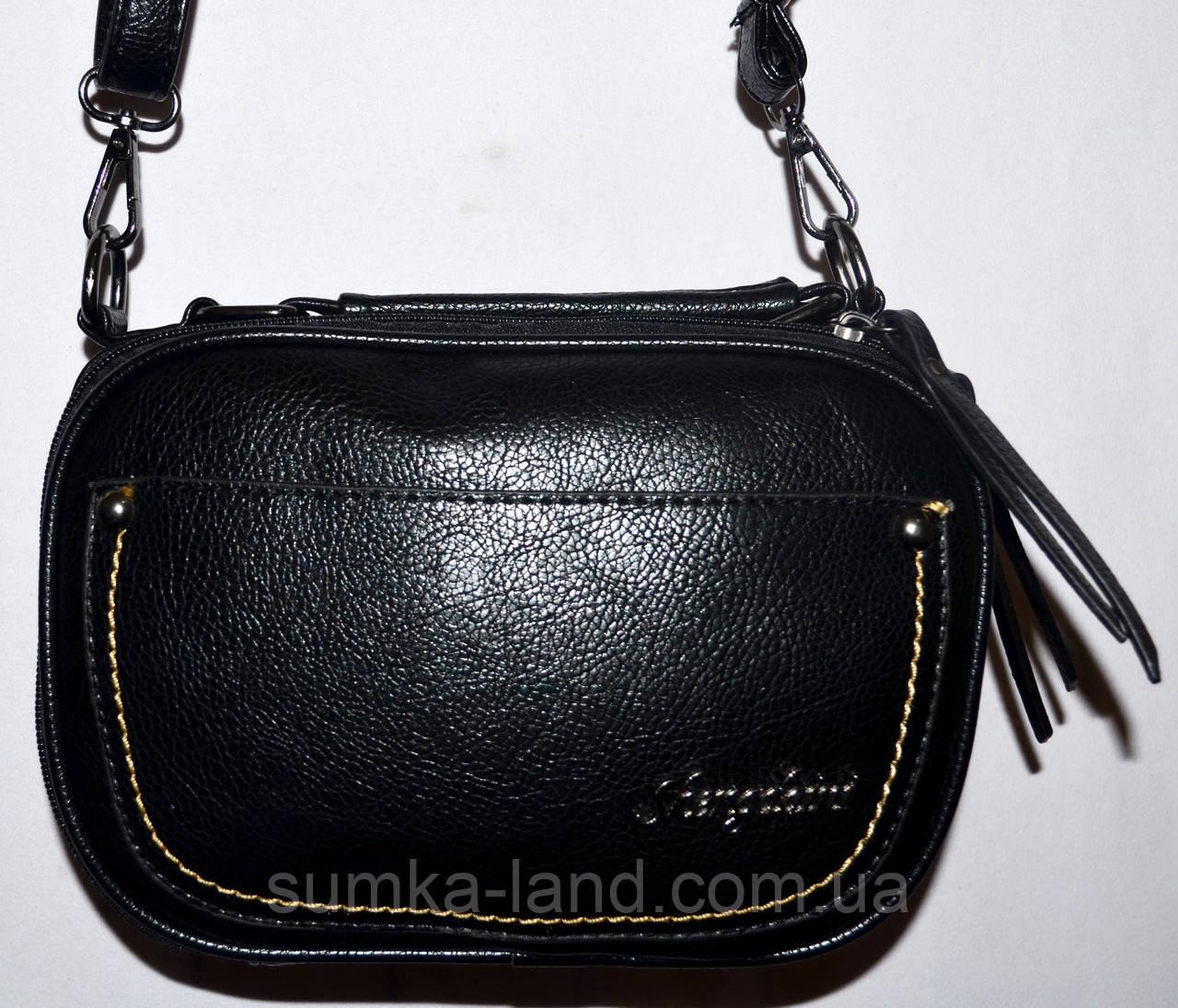 Женский черный клатч на ремешке с двумя отделениями 23*16 см