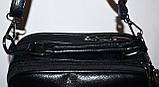Женский черный клатч на ремешке с двумя отделениями 23*16 см, фото 2