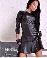 Кожаное короткое платье  ла0852