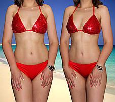 Женский красный купальник с пайетками