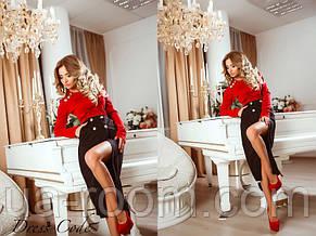 Женский трикотажный костюм юбка+водолазка №464, фото 2