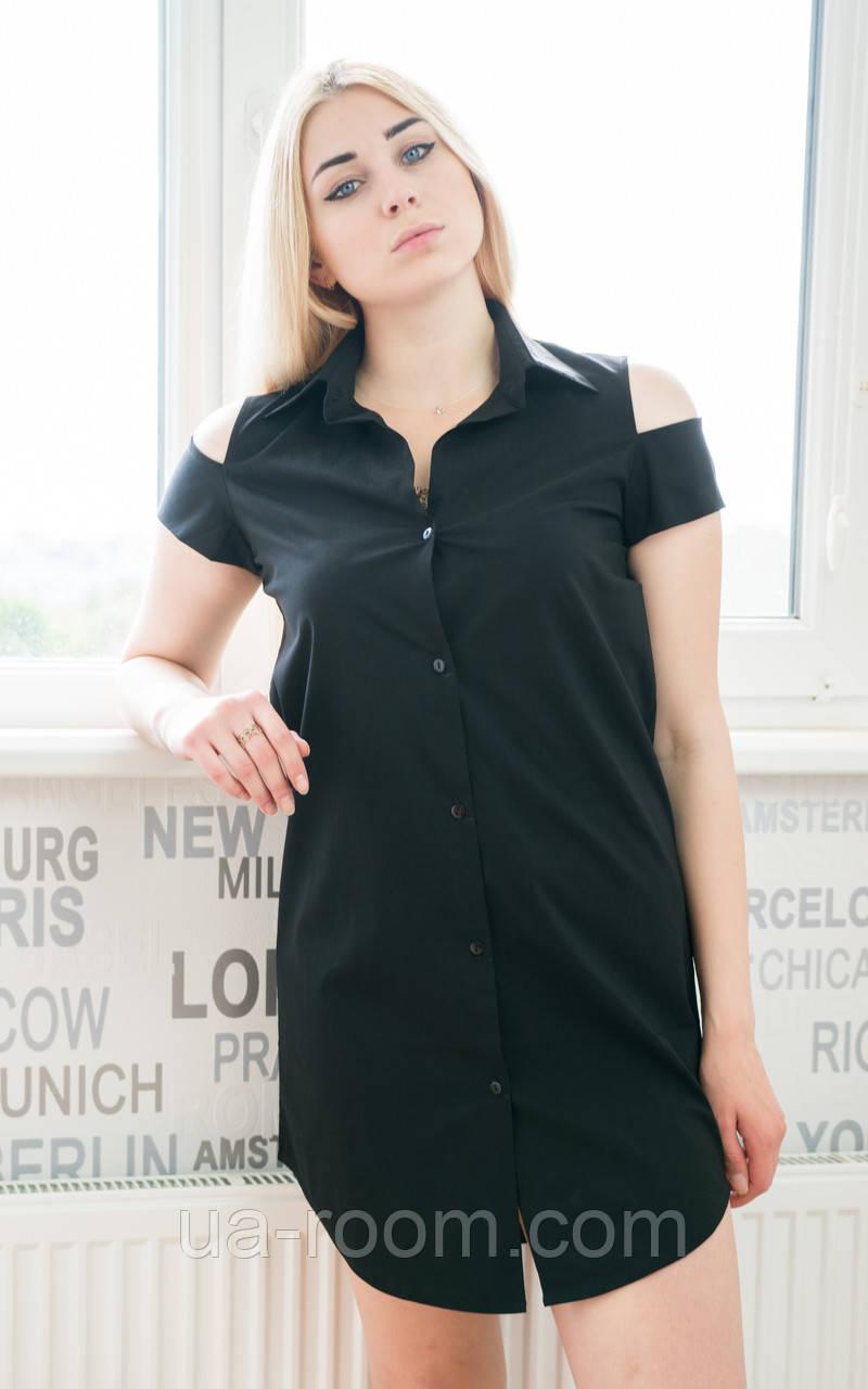 Женское стрейчевое платье-рубашка  №263