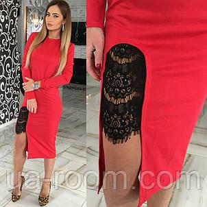 Женское трикотажное платье с гипюром №232, фото 2
