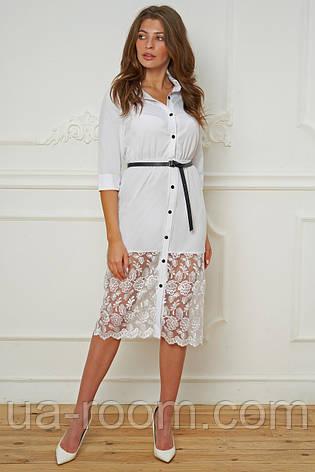 Женское платье-рубашка бенгалин+гипюр с поясом № 019 белый, фото 2