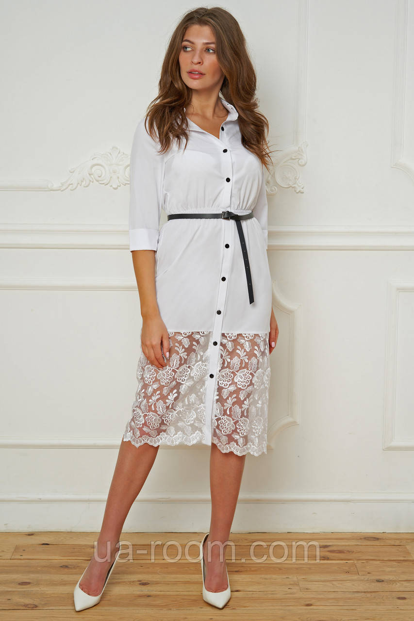 Женское платье-рубашка бенгалин+гипюр с поясом № 019 белый