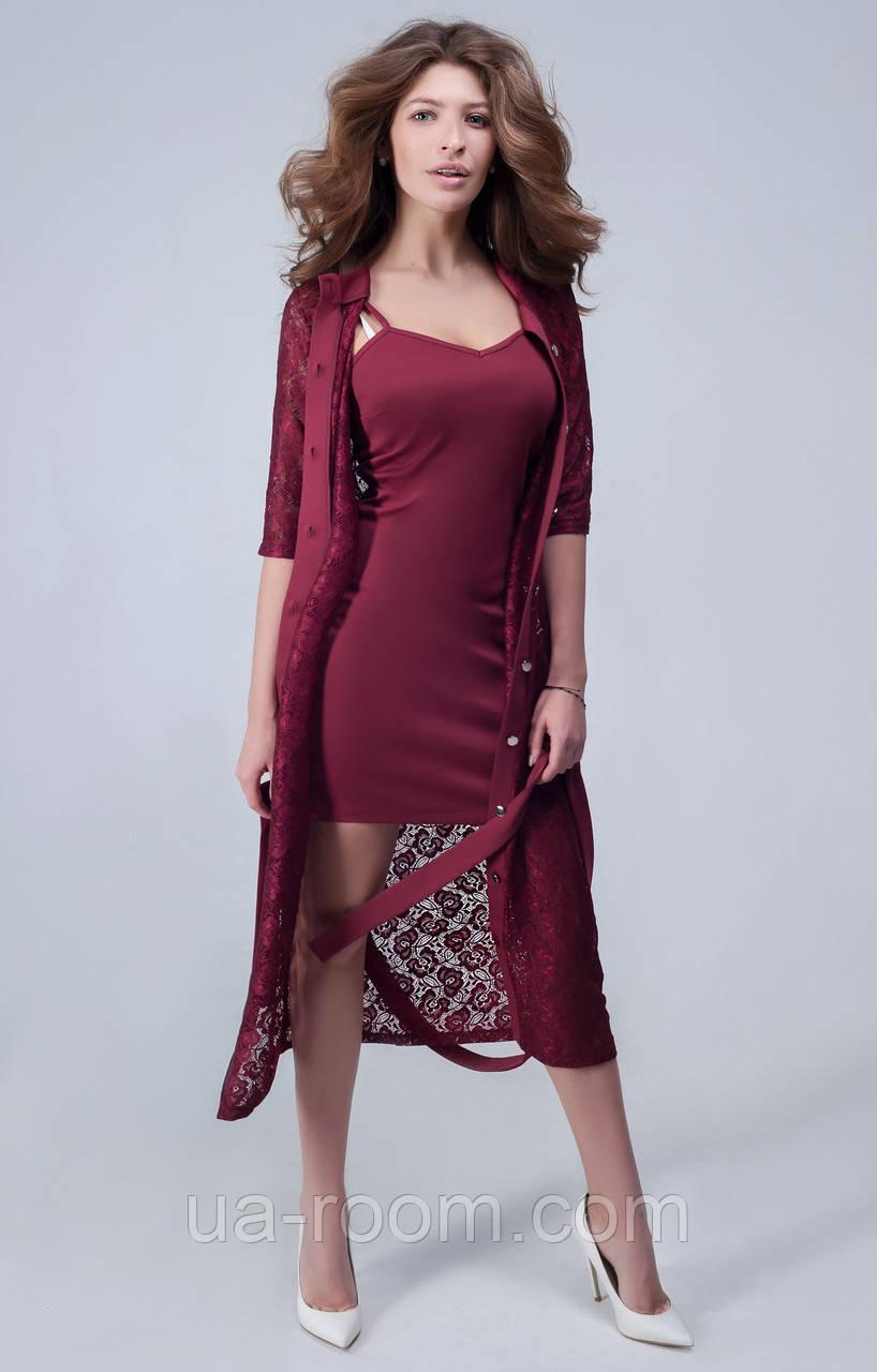 Женское платье с гипюровой накидкой №440
