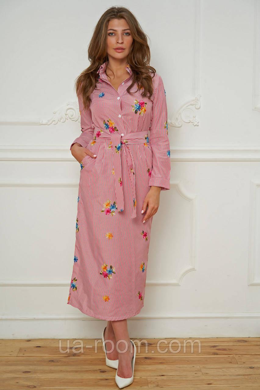 Женское платье-рубашка c вышивкой (хлопок)  №476