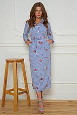 Женское платье-рубашка c вышивкой (хлопок)  №476, фото 3