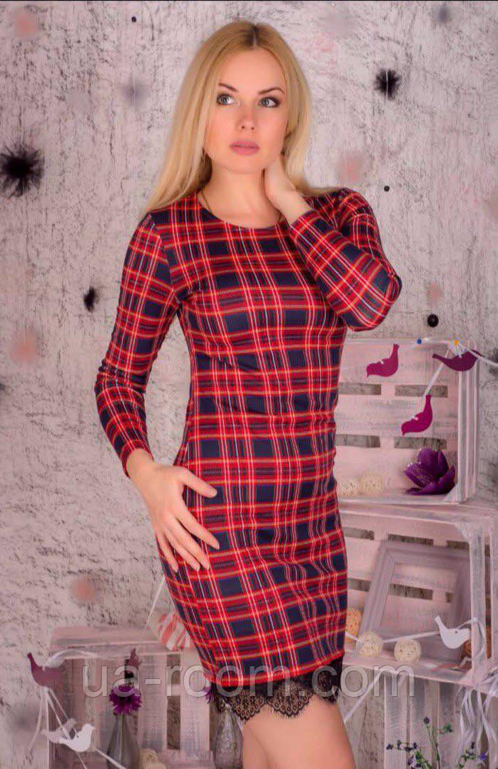 Женское классическое платье в клетку с кружевом №94