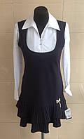Сарафан школьный Ahsen черный с плиссерованым низом юбки и большим вырезом