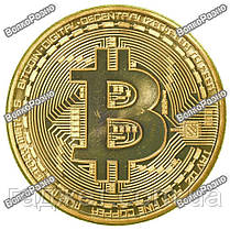 Сувенирная монета Bitcoin. Сувенирная монета Биткоин золотистого цвета., фото 3