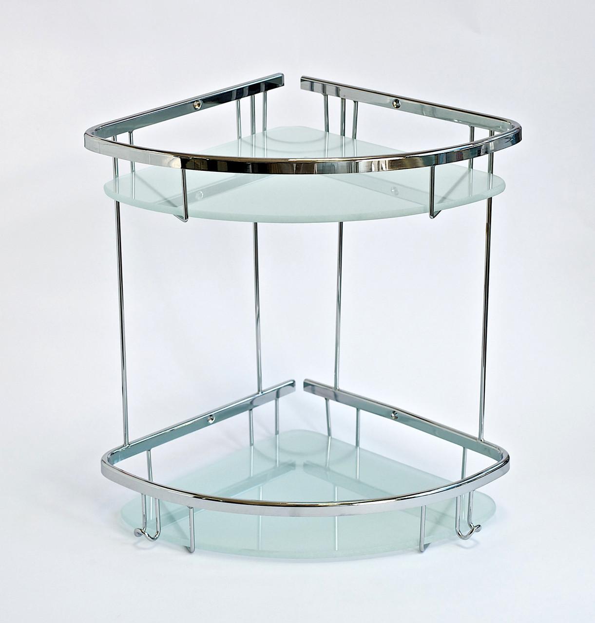 Полка в ванную из латуни двойная со стеклом 22 x 22 см