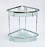 Полка в ванную из латуни двойная со стеклом 22 x 22 см, фото 1