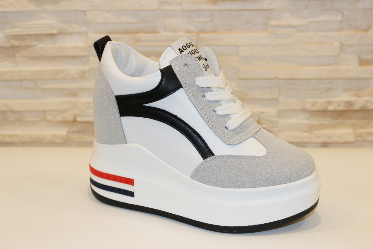 2a522dd4928b Кроссовки сникерсы белые с серым женские на танкетке Т16 - МОДНЫЙ МАГАЗИН  женская обувь, сумки
