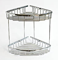 Полка в ванную из латуни двойная 22 x 22 см с заглушками, фото 1