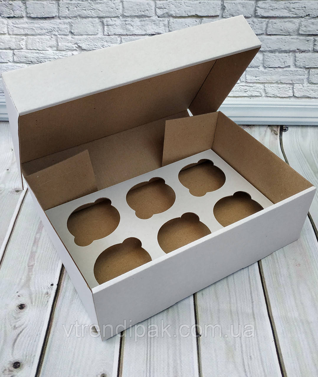 Коробка для 6 кексів, мафінів, капкейків 250*170*110 біла