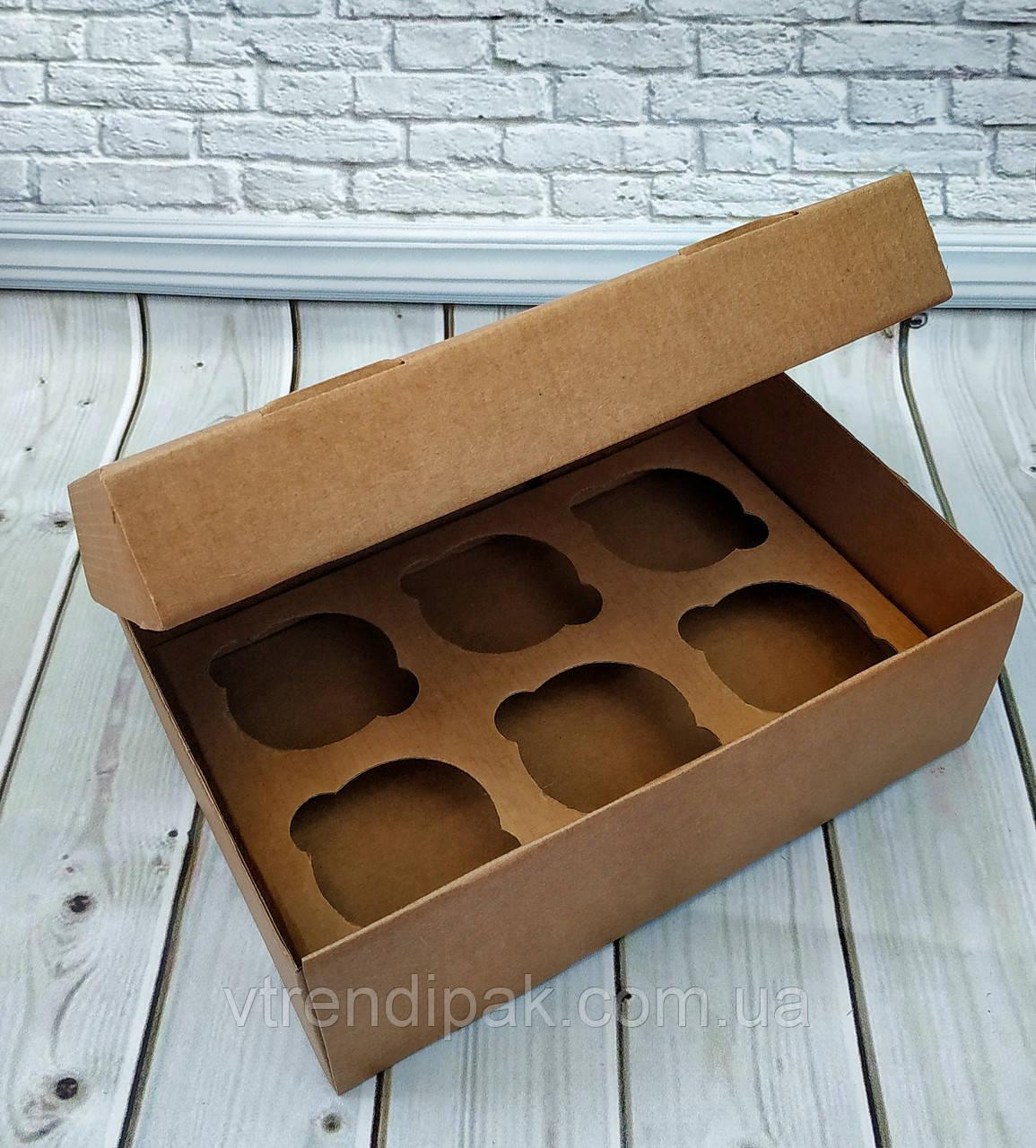 Коробка для 6 кексів, мафінів, капкейків 250*170*80 Крафт