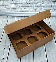Коробка для 6 кексів, мафінів, капкейків 250*170*80 Крафт, фото 1