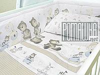 Ограждение (мягкие бортики, защита, бампер, охранка) для детской кроватки новорожденному Лошадка 4154 Белый