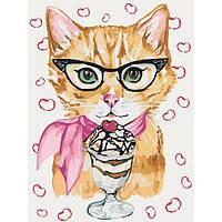 "Раскраска антистресс по номерам ""Котик с мороженым"" 30 х 40 см, Без Коробки"