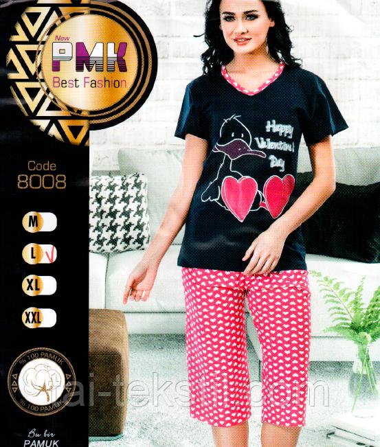 Пижама женская футболка с капрями хлопок Night Angel № 8008