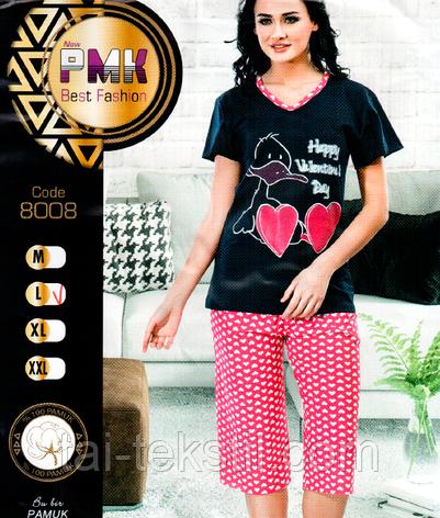 Пижама женская футболка с капрями хлопок Night Angel № 8008, фото 2