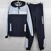"""Спортивный костюм подростковый """"BMW реплика"""" 7-12 лет. Темно-синий+серый. Оптом"""