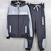"""Спортивный костюм подростковый """"BMW реплика"""" 7-12 лет. Темно-серый+серый. Оптом"""