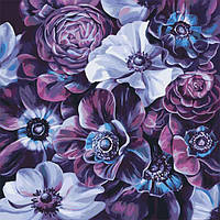 """Раскраска антистресс по номерам """"Пурпурные цветы"""" 40 х 40 см, Без Коробки"""