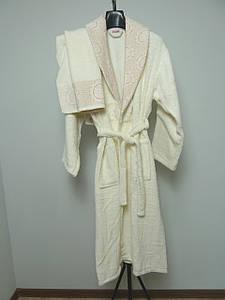 """Махровый  банный халат """"DILA""""  с полотенцем  бежевый, S-M"""