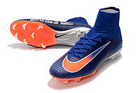 Детские футбольные бутсы Nike Mercurial Superfly V FG Royal Blue/Cool Grey/Total Orange, фото 1
