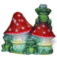 """Садовая фигура """"Грибы с лягушками большие"""" 40 см, садовые фигуры оптом"""