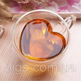 Кружка двойное стекло Сердце 150 мл ( чашка )