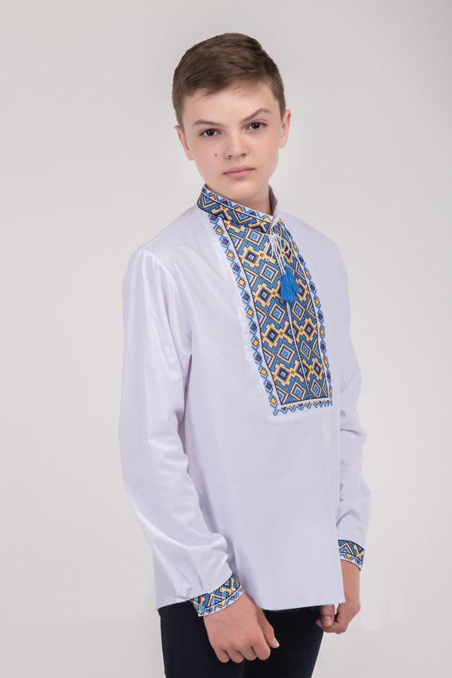 Подростковая вышиванка для мальчика с сине-желтой вышивкой