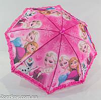 """Детский зонтик для девочки """"Frozen"""" с рюшей по куполу на 5-9 лет от фирмы """"Paolo Rosi""""."""