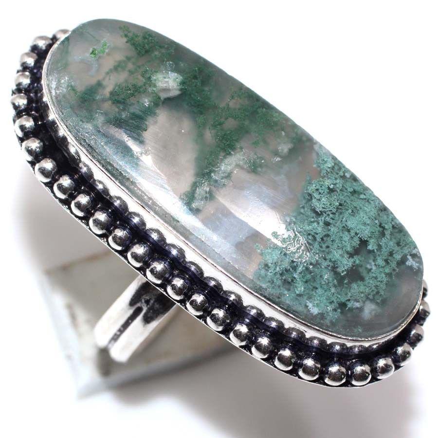 Кольцо с моховым агатом. Кольцо овальное моховый агат в серебре 18-18,3 размер Индия
