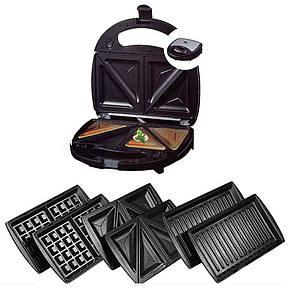 Сэндвичница, гриль, вафельница, с тремя сменными пластинами 3 в 1 DSP KC1049 750 Вт, фото 2
