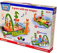 Коврик для малышей Троп. лес 3059 (602669)   батарейки , музыкальная игрушка детская , дуга, погрем., в коробке 54*40*8,5 см.