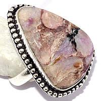 Красивое кольцо с чароитом в серебре. Кольцо с камнем чароит., фото 1