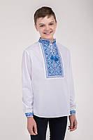 Подростковая вышиванка для мальчика с сине-голубым геометрическим узором