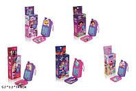 Мобильный Телефон детский детский 1601/2/3/4/5  5 видов,  батарейки , в коробке 5*3*14,5 см.