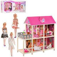Кукольный домик игровой набор 66884   3 куклы, 2 этажа, веранда, балкон, мебель, мопед, в коробке 84*36*14 см.