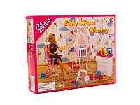 Мебель для куклы Gloria 9929  для детской,колыбель,люлька,комод,кресло-качалка,в коробке