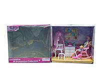 Мебель для куклы Gloria 9929GB для детской,колыбель,комод,кресло-качалка,аксесс,в коробке 37*18*33