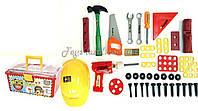 Набор инструментов 2058  41 дет., каска, дрель, молоток, в чемоданчике 35*23*16 см.