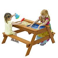 Детская песочница, стол со скамейками, отделение для воды и песка