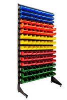 Стеллажи для гаража с пластиковыми ящиками для метизов и крепежа