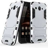Чехол Iron для Huawei Y3 2017 бронированный Бампер Броня Silver